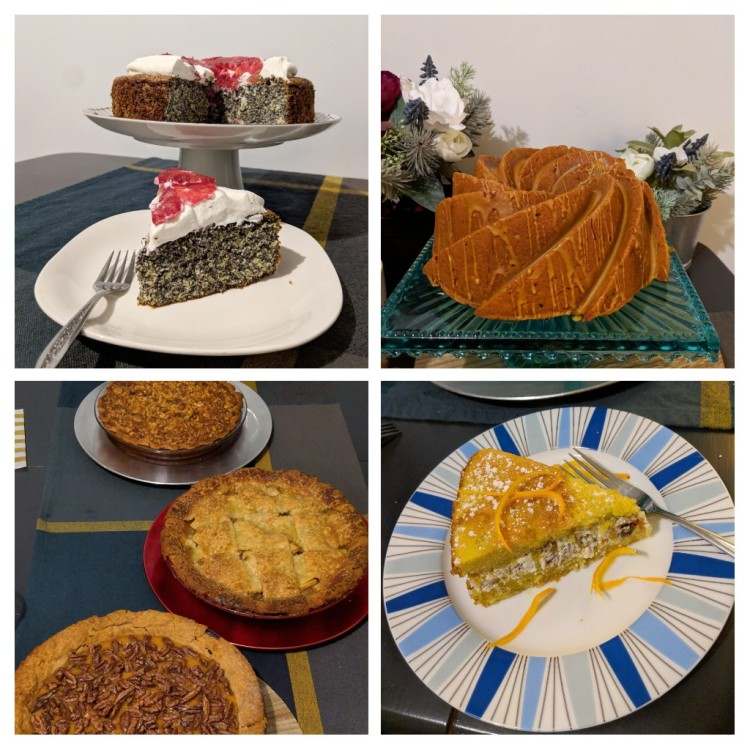 Poppy seed orange cake, brown sugar bundt cake, three pies, and Hanukkah cake