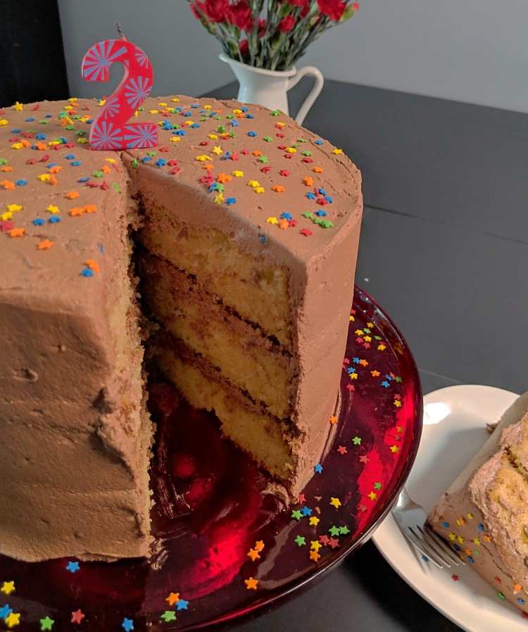 Three-layer yellow cake with chocolate frosting, sprinkles, and a candle