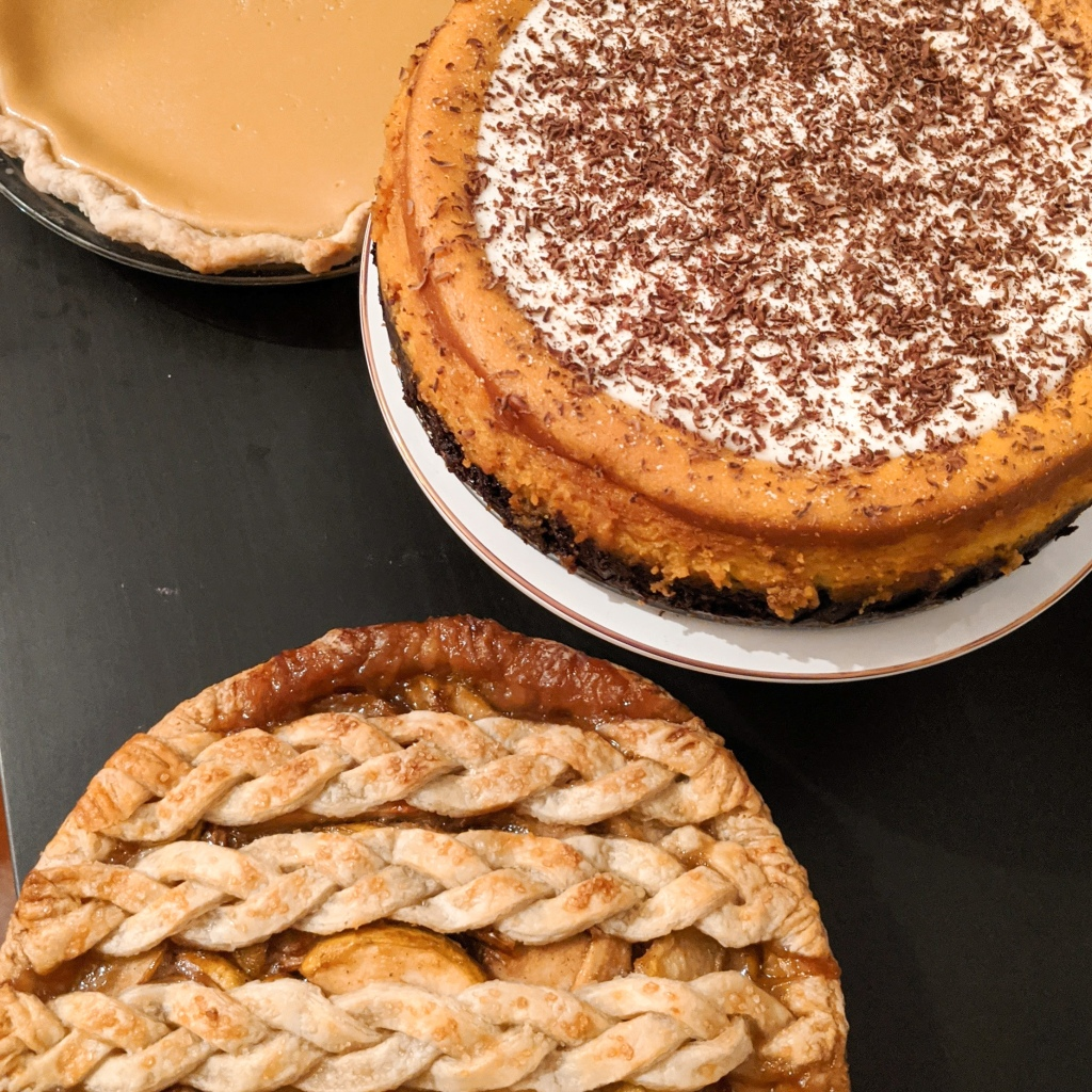 Maple buttermilk pie, pumpkin chocolate cheesecake, and spiced pear pie